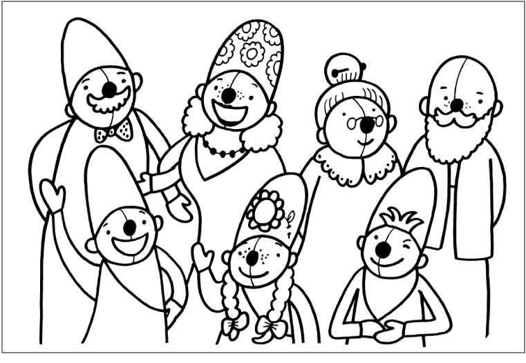 Kleurplaat Pompom Familie Met Afbeeldingen Pom Poms Thema