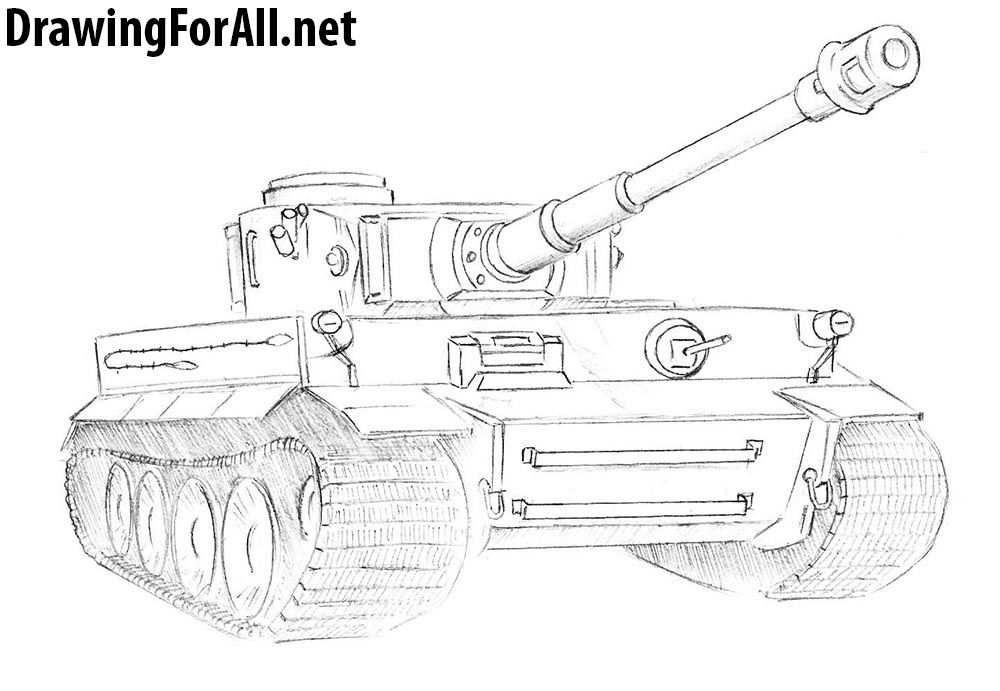 How To Draw A Tiger Tank Tank Tekenen Voertuigen