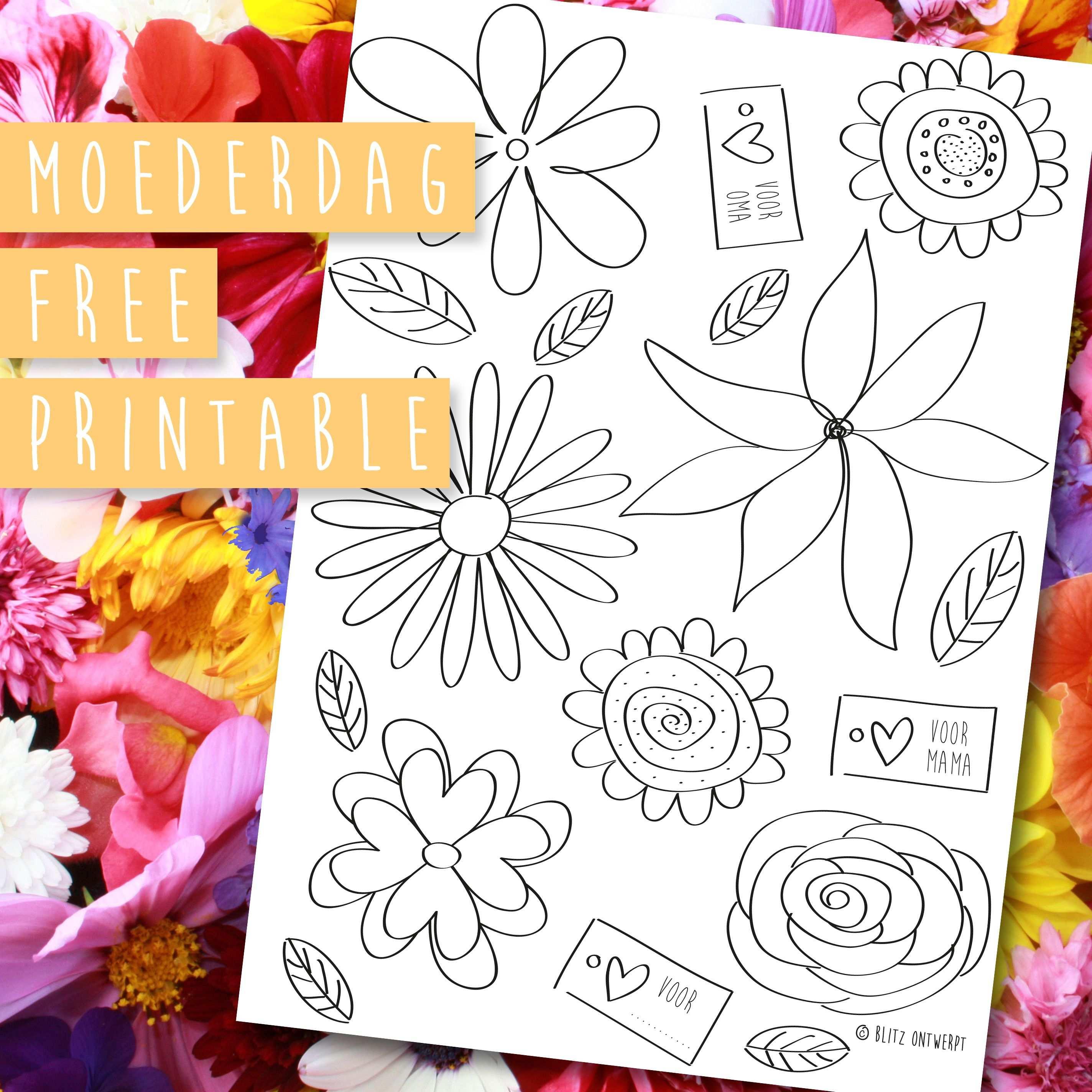 Moederdag Free Printable Bos Bloemen Moederdag Oma Knutselen