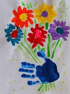 Bosje Bloemen Verven Of Plakken Met Hand Afdruk Kleuter
