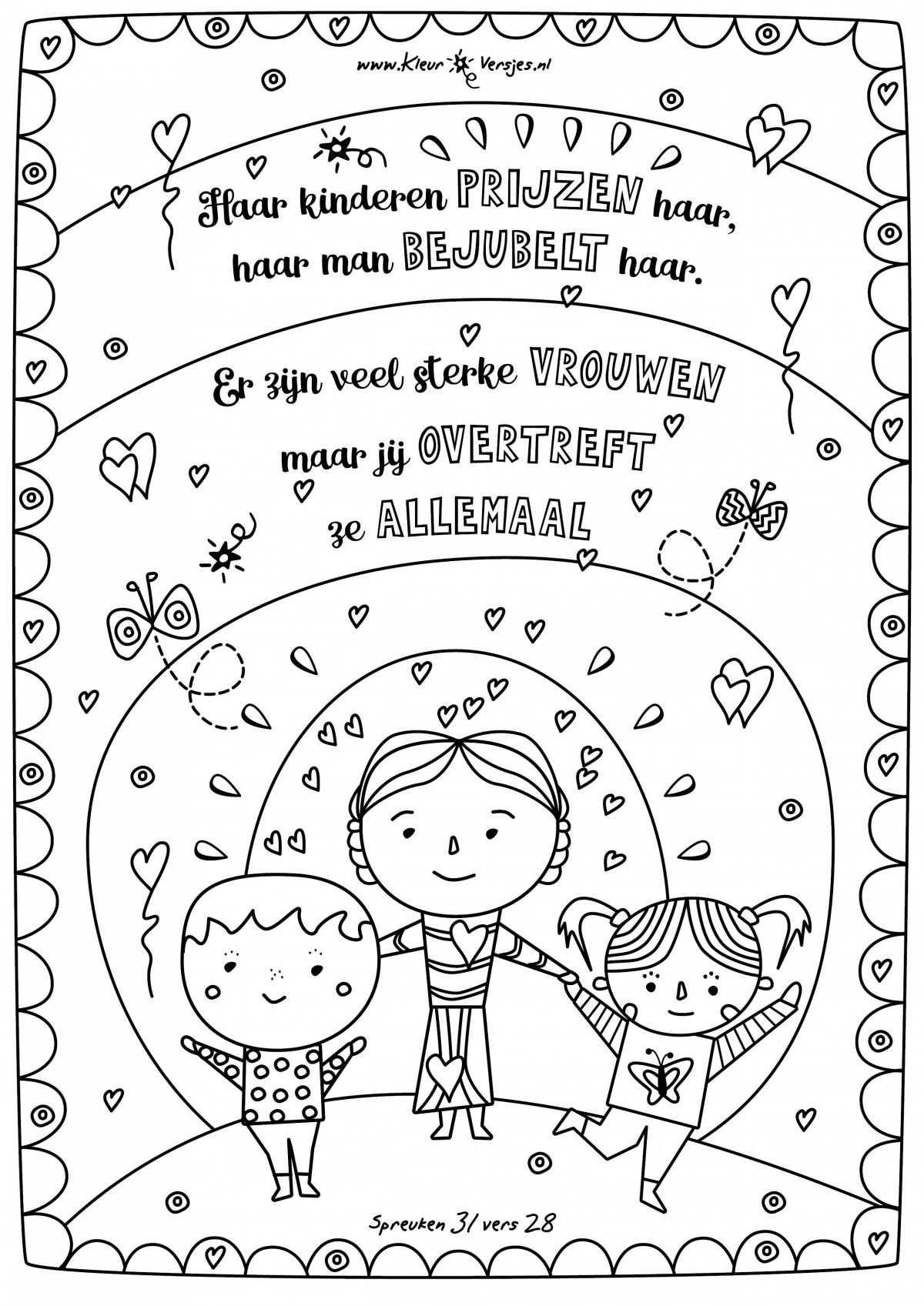 moederdag kleurplaat met tekst