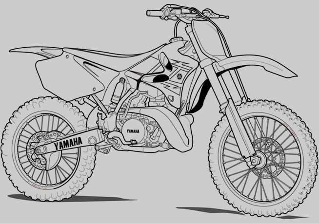 Printable Motorcycle Coloring Pages Dirt Bike Drawing Dirt