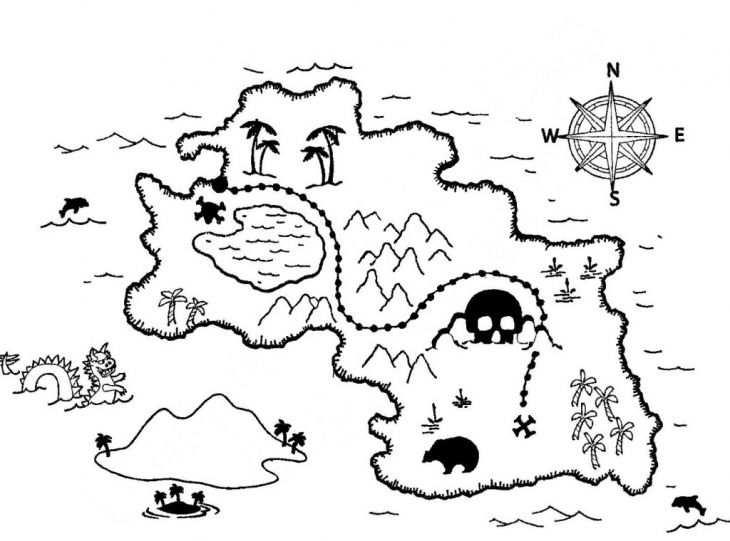 Online Coloring Sheet Of Treasure Map To Print For Kids Schatkaarten