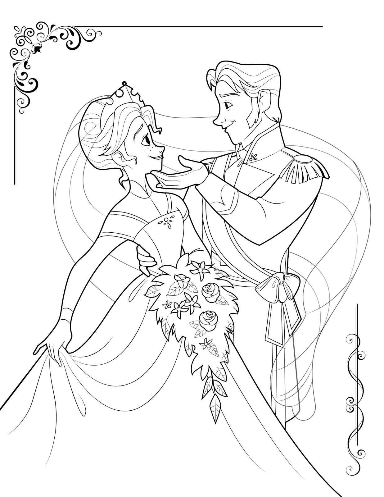 Frozen Kleurplaten Anna Hans Verliefd Dibujos De San Valentin