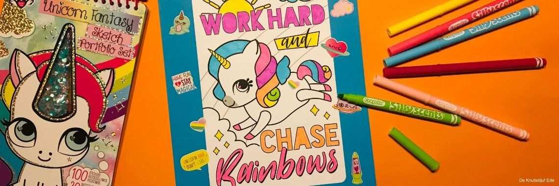 Leuke Eenhoorn Kleur En Stickerset Schetsboek Kleurplaten En