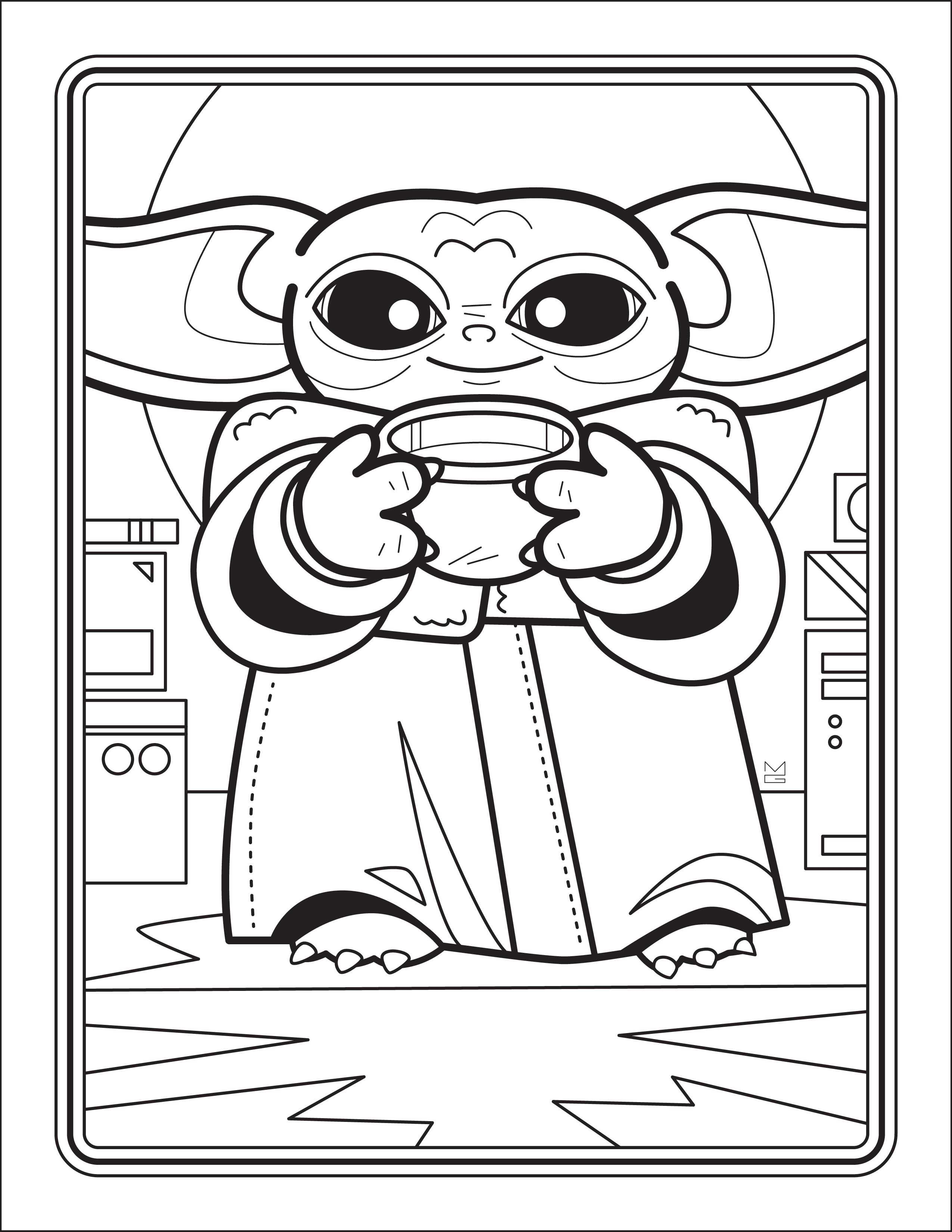 Six Free Coloring Sheets Of Baby Yoda Scenes From Star Wars The