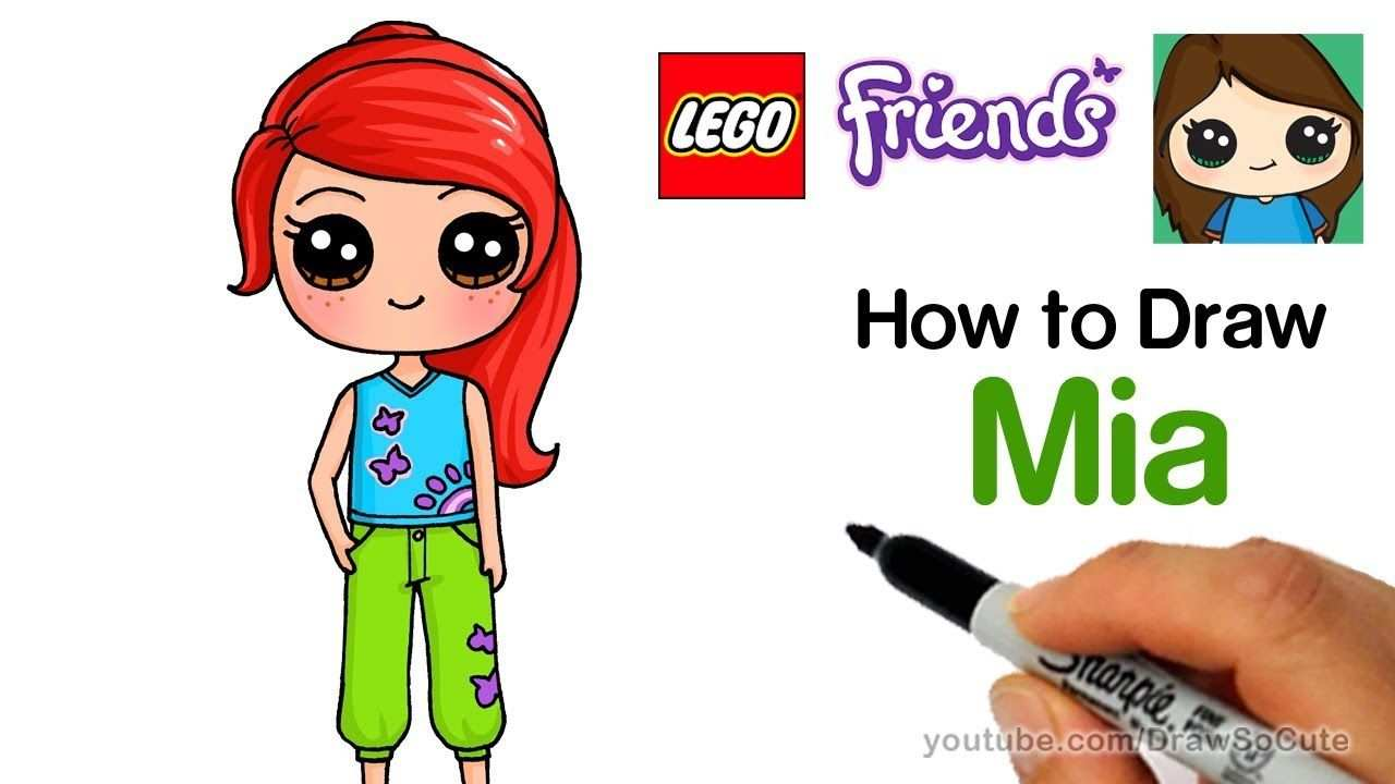 How To Draw Lego Friends Mia Easy Youtube Kawaii Tekeningen