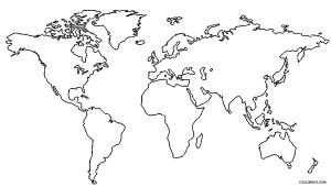 World Map Coloring Pages Wereldkaart Kaarten Creatief