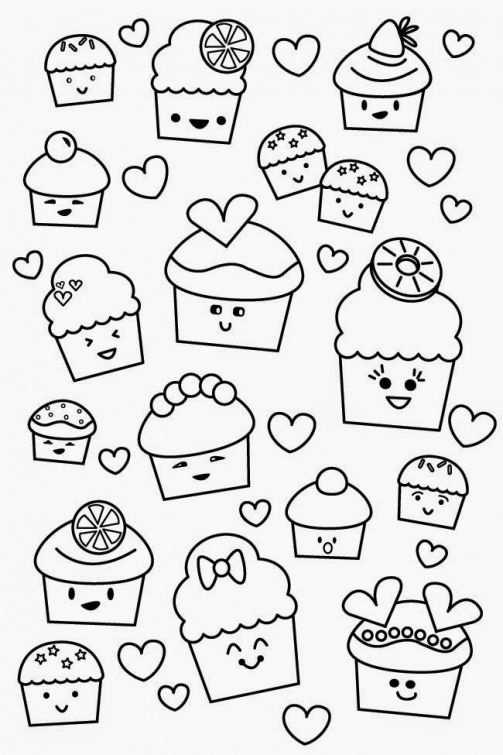 Poofy Cheeks Printable Kawaii Valentine Cupcake Coloring Page