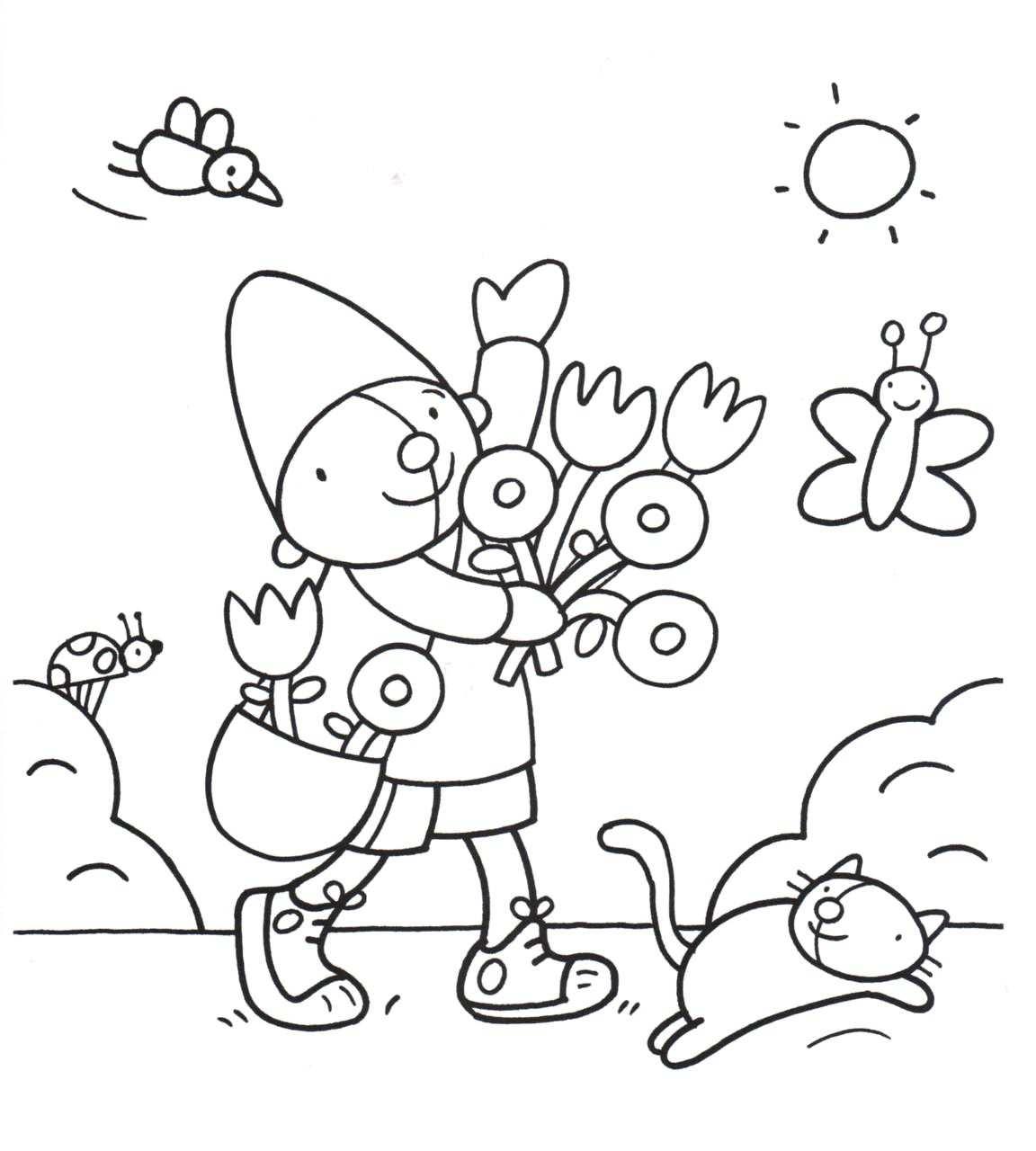 Kleurplaat Pompom Lente Met Afbeeldingen Kleurplaten Thema
