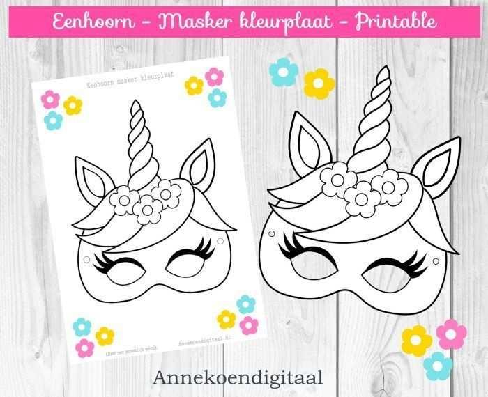 Eenhoorn Masker Kleurplaat Gratis Printable Fastelavnpynt