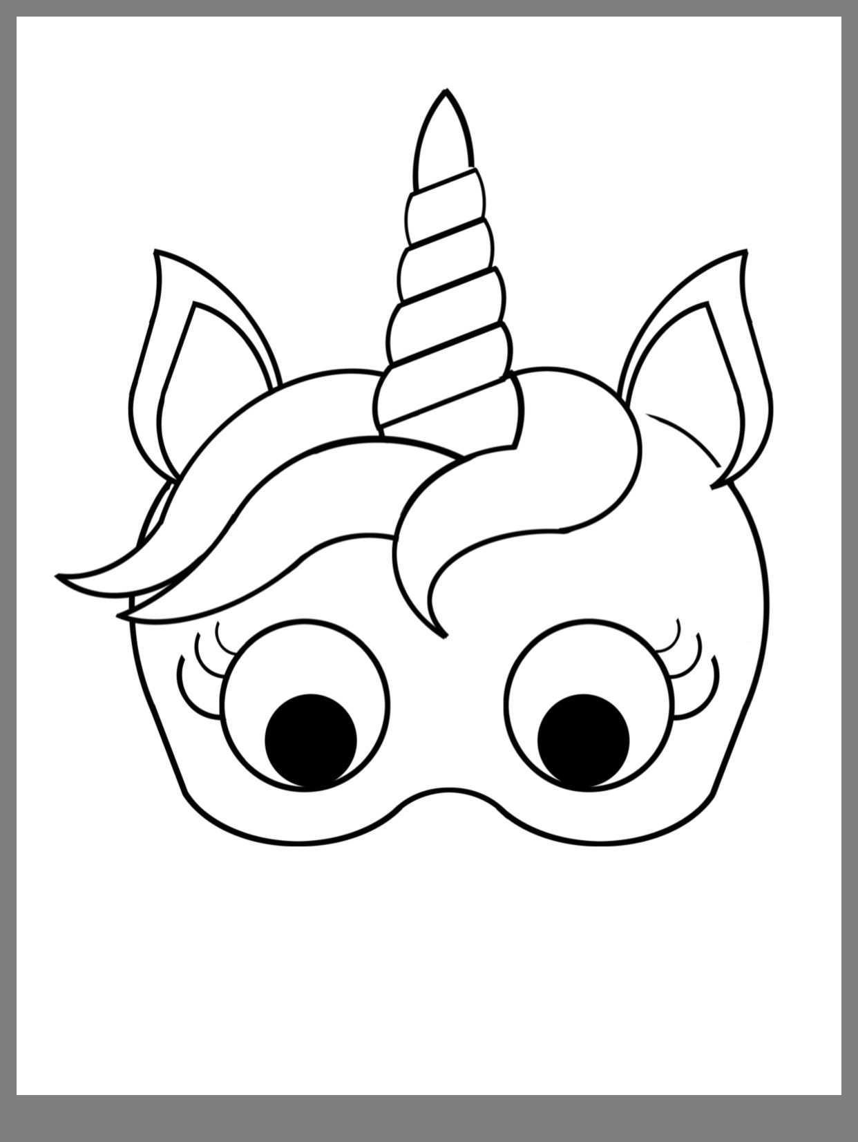 unicorn kleurplaat eenhoorn masker