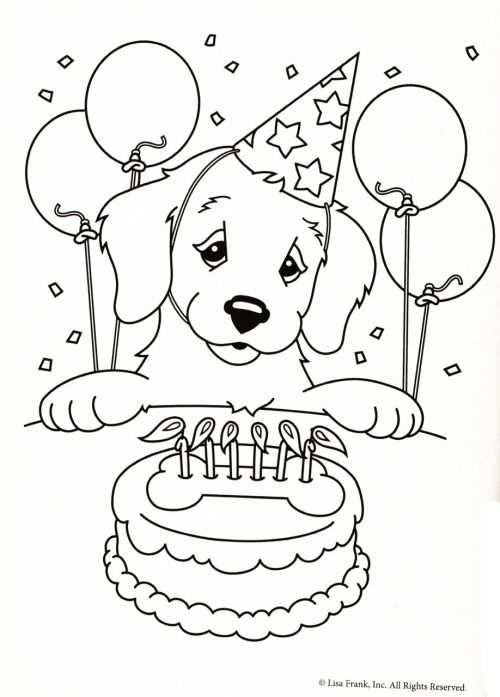 Kleurplaat Hond Verjaardagstaart Adult Coloring Pages More