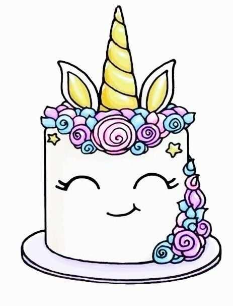 unicorn taart verjaardagstaart kleurplaat