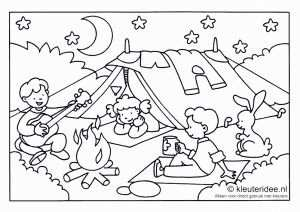 Kleurplaat Camping Voor Kleuters Thema Kamperen Kleuteridee Nl