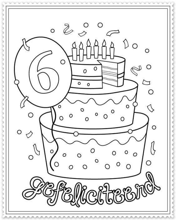 Hoera 6 Jaar Kleurplaten Verjaardagskaart Verjaardagskalender