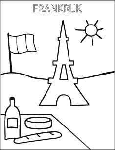Kleurplaat School Frankrijk Eiffel Toren Met Afbeeldingen