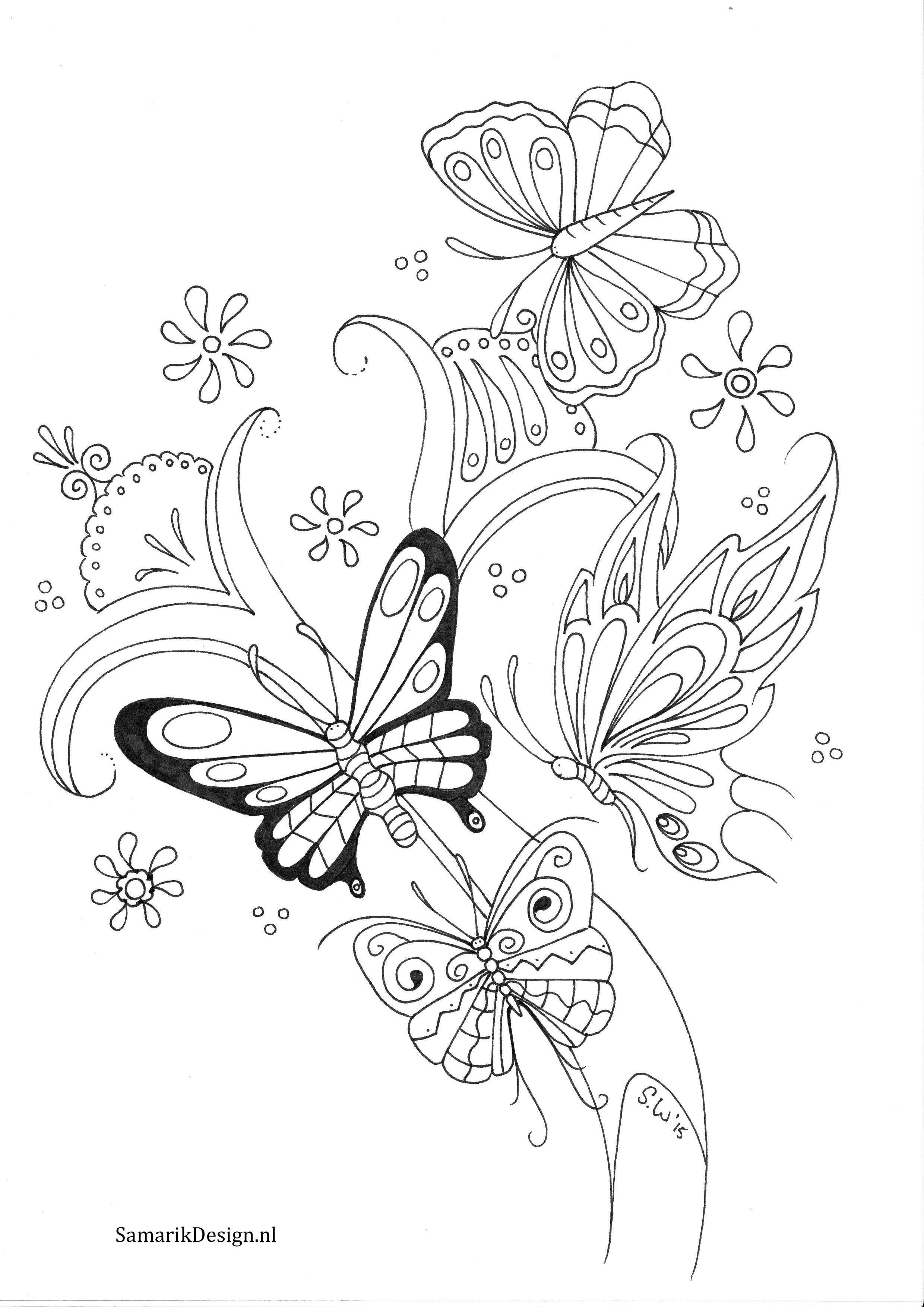 Kleurplaat Voor Volwassenen Butterflies Kleurplaten