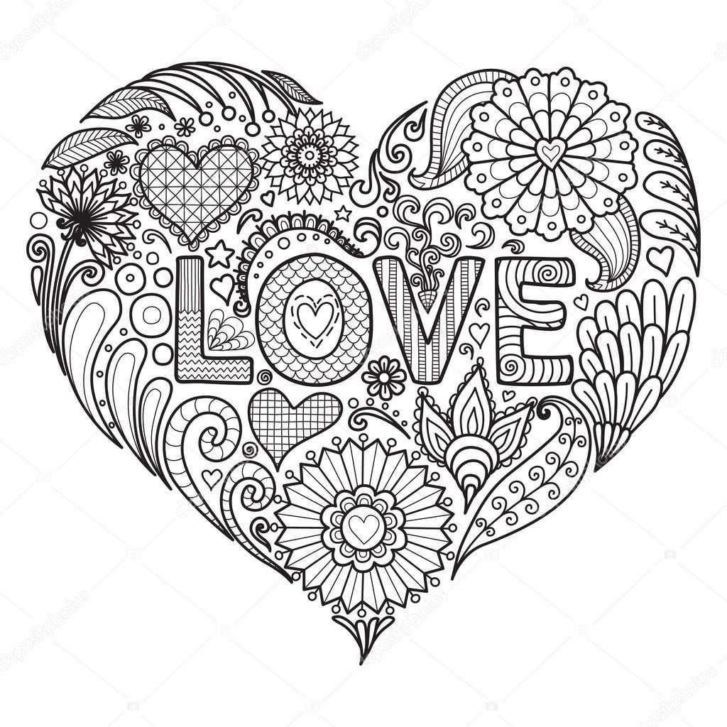volwassenen kleurplaat mandala hart