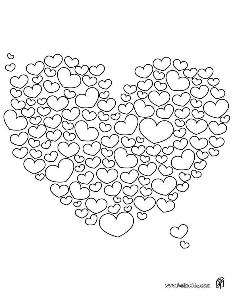Hearts Colouring Page Hartjes Kleurplaat Met Afbeeldingen