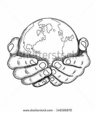 Handen Met Aarde Tekening Schets Kleurplaat Pagina Tats In Schets