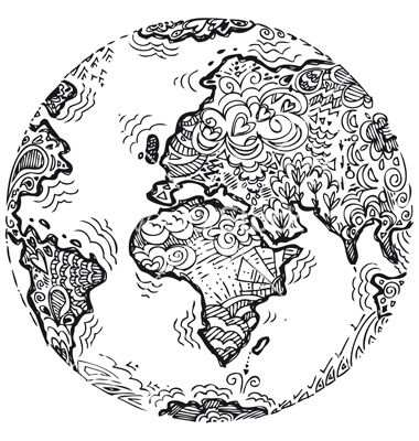 Planet Earth Sketched Doodle Vector Image On With Images Earth