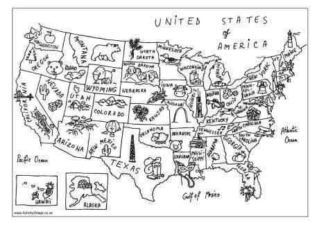 Usa Map Colouring Page Noord Amerika Kleurplaten Thema