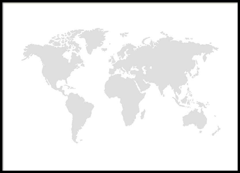 World Map Grey Posters Met Afbeeldingen Wereldkaart Poster