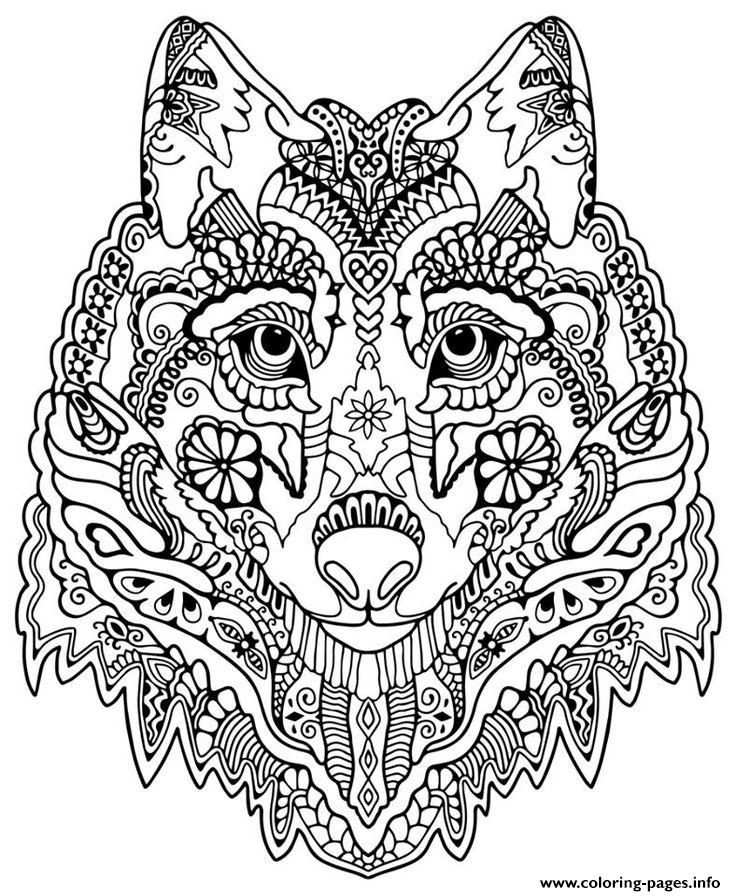 Print Cute Wolf Adult Mandala Grown Up Coloring Pages Met