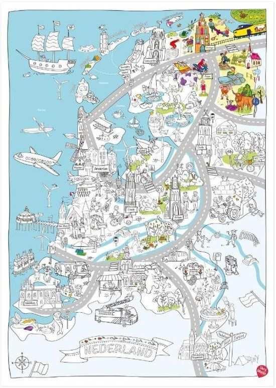 Very Mappy Nederland Xxl Speel Kleurplaat Van Nederland In