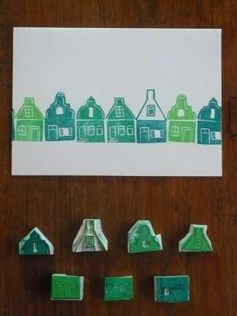 Zaanse Huisjes Gum Stempel Stempel Maken En Stempelkaarten
